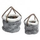 cesta textil con asa de piel x2