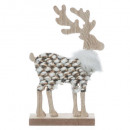 decoration wood txt reindeer standing h14cm