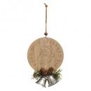 Kerstdecoratie houten platte bal bel, 3-maal