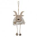 Campana di renna in pelliccia di legno con decoraz