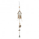 christmas decoration long wood house bell, 3-fold