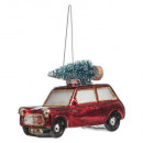 christmas decoration glass 10cm car fir