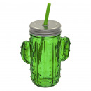 mug straw cactus 42cl, green