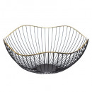 black basket with 32cm gold edging, black