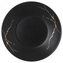 Borden hol marmer zwart goud 21cm, zwart