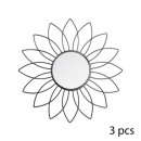 metal mirror flower x3 black d25, black