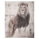 gedrukt canvas 38x48x1,8 leeuw, veelkleurig