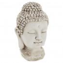tete bouddha resine h26, blanc
