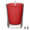 bougie parfumées tube fr roug 22g x6, rouge foncé