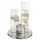set vase + candle + flowers + mirror, transparent