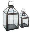 grossiste Lanternes et lanternes: lanterne metal contemp x2, noir