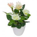 white flower pot mela h18, 4- times assorted , col