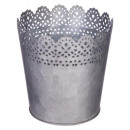 metal lace garden pot d14, gray