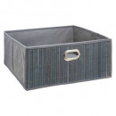 canasta de almacenamiento de bambú gris, marrón