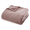 plaid de franela rosa liso 180x230, rosa