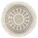 Etnik d120 alfombra redonda, blanco y negro