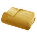 plaid flanel uni ocre 125x150, jaune
