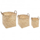 basket bamboo handle natural x3, beige