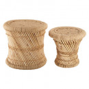 natural rope side table x2, beige