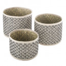 basket wicker round nomad x3, beige