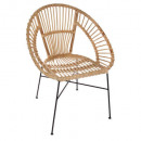 natural wicker metal armchair, sand