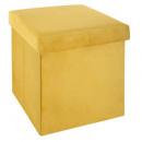Puf plegable en terciopelo moutrd tess, amarillo