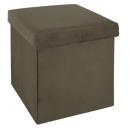 foldable pouf velvet khaki tess, green khaki