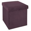 foldable pouf velvet plum tess, plum