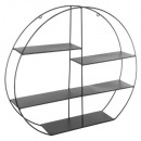 round wall metal shelf, black