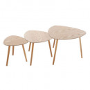 table cafe mileo bois x3, beige