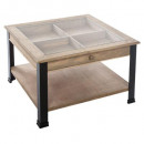 bhanu glass coffee table, black