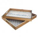 Vintage Tablett x2, 2- fach sortiert , bunt