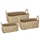 basket seagr plate rectangle natural x3, beige