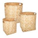 cesta redonda de bambú natural x3, beige