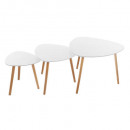 table cafe mileo blanc x3, blanc