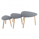 table cafe mileo gris x3, gris