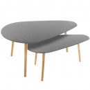 table cafe mileo gm gris x2, gris