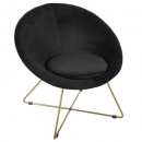 velvet armchair black p gold evan, black