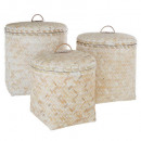 bleached bamboo basket x3, white