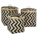 bamboo basket cover pattern x3, black