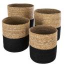basket jute seagr plate black x4, 2- times assorte