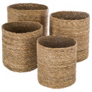 basket seagr plate x4 natural, brown