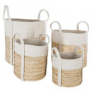 basket natural coton x4, white