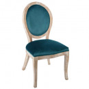 chaise cleon bois naturel en velours duck, bleu