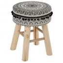 stool pompoms mandala, black & white