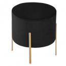 stool in black velvet living, black