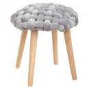 tabouret tricot gris cosy, gris