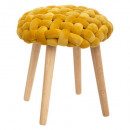 tabouret tricot moutrd cosy, moutarde