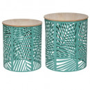 coffee table green leaf x2, green