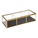 glass box in velvet rectangle gold, gold